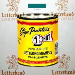 1 Shot Lettering Enamel Paint Blue Green 150L - Pint
