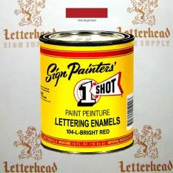 1 Shot Lettering Enamel Paint Bright Red 104L - Pint