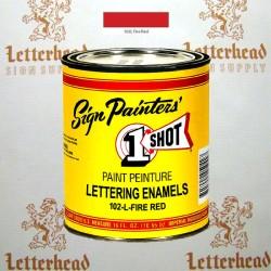 1 Shot Lettering Enamel Paint Fire Red 102L - Pint