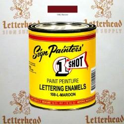 1 Shot Lettering Enamel Paint Maroon 108L- 1/4 Pint