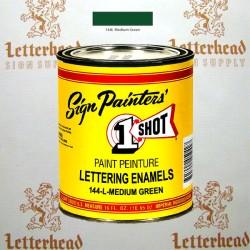 1 Shot Lettering Enamel Paint Medium Green 144L - Pint