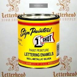1 Shot Lettering Enamel Paint Metallic Silver 193L - Pint