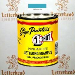 1 Shot Lettering Enamel Paint Peacock Blue 154L - Pint