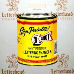 1 Shot Lettering Enamel Paint Polar White 103L - 1/2 Pint
