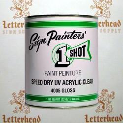 1 Shot Lettering Enamel Speed Dry UV Acrylic Clear Gloss 4005 - Quart