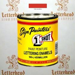 1 Shot Lettering Enamel Paint Vermillion 100L - 1/2 Pint